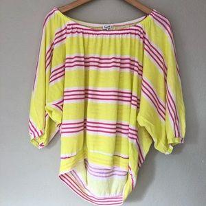 Splendid Palm Stripe Dolman Top Neon Yellow S
